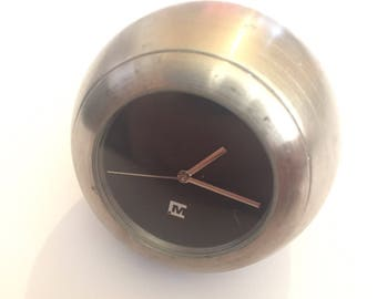 Vintage Small Metal Paperweight Desk Clock, Modern, Office Accessories