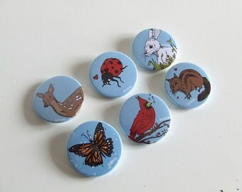 Animal Pin Collection - Badge or Magnetic - 38mm Small Pin - Illustration - Pinback Button