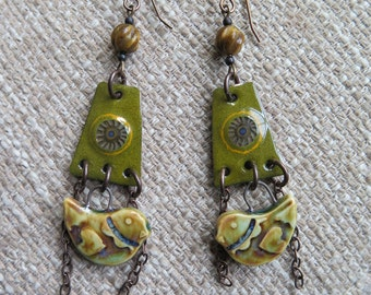 love bird earrings, loden green earrings, olive green earrings, boho earrings, green earrings, unique earrings, bird earrings, artisan gift