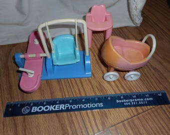 Baby Carriage Chair Doll House Furniture Lot Toy FP