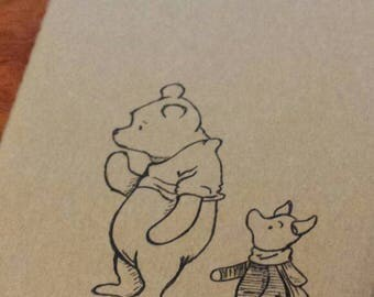 Hand Drawn Winnie the Pooh and Piglet Moleskine Ruled Journal, Small, Black on Brown.