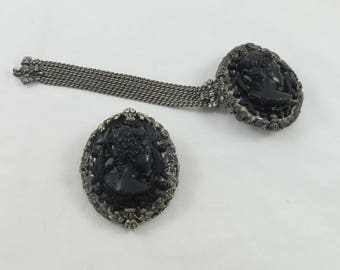 Reserved for M- Signed Joseff Of Hollywood matching set bracelet & brooch/pendant black faux cameo