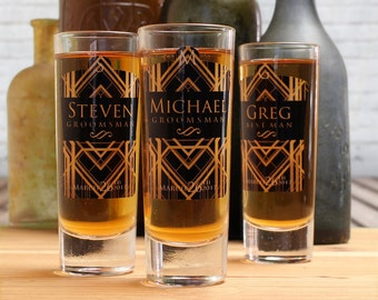 Groomsmen Shot Glasses, Set of 4, Personalized Shot Glasses, Art Deco, Groomsmen Gifts