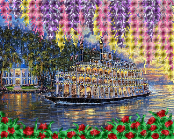 Steamboat beading on needlepoint kit, bead embroidery kit, housewarming gift Idea, DIY craft set