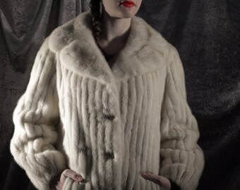 Stunning striped blond mink & leather button down jacket with large statement collar