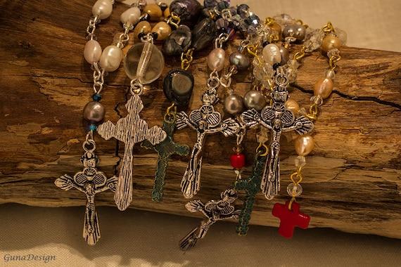 Rosary Swarovski Crystals and Sweet Water Pearls by GunaDesign
