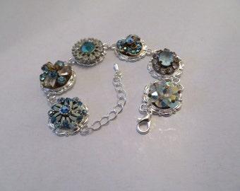 Aqua Rhinestones Vintage Style Bracelet