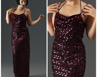 70s Magenta Pink Purple Lurex & Sequins Floor Length Gown // Back Slit, Spaghetti Straps // Burlesque Showgirl Glamour Dress, Sz S/M