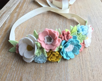 Felt Flower Crown, wedding, baby crown, birthday crown, headband, photo prop