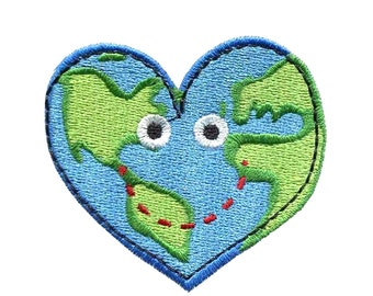 """2.5"""" KAWAII heart planet earth Embroidered Iron on patch heal the world peace love"""