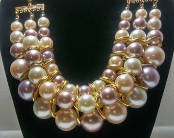 Pearl Pink, Bib Necklace, Jewelry Set, Matching Earrings, Mix Pink Beads, Statement Jewelry