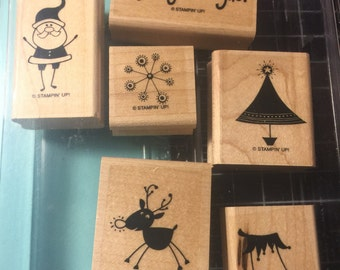 Stampin Up Sparkly & Bright rubber stamp set of 6 on wooden blocks