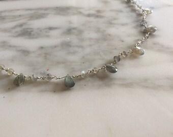 Silver necklace with labradorite stones.