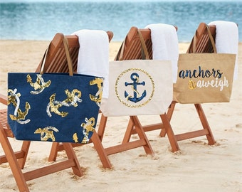 Anchor Tote-Anchors Aweigh-Anchor Sequin Tote-Beach Tote-Nautical Tote-Sequined Tote Bag-Brides-Bridal-Beach Wedding-Vacation-Cruise Bag