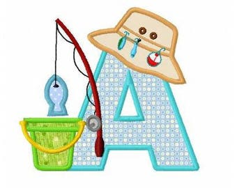Fishing letter A machine embroidery applique design instant download