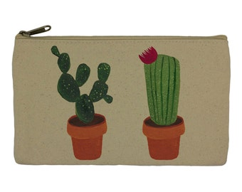 Pencil case/ stationary/ cactus/ plant/ pencil pouch/ canvas bag/ pencil holder/ make up bag/ school supplies