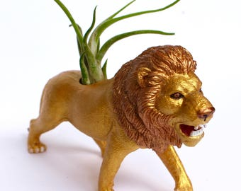 Original Gold Lion Planter - Upcycled Hand-painted Animal Figurine