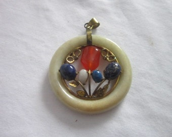 Antique Jade Lapis Lazuli Carnelian Circle Necklace Pendant Super