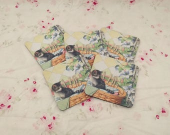 Cat Coasters (Set of 5). Cat Coasters. Coater Set. Vintage Coasters. Vintage Cats.