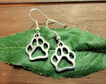 DOG PAW EARRINGS - cat paw dangle earrings - surgical stainless steel ear wires - hypoallergenic, sensitive ears earring wires