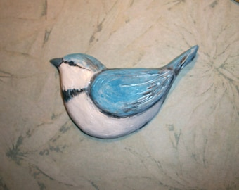 "Chubby Little Blue Bird Cabochon,turquoise,white,mosaic tile,hand painted,jewelry supply,flat back bead,sewing,2 3/4"" by 1.75"""