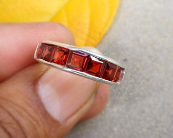 garnet eternity ring half eternity band garnet channel set ring sterling silver wedding rings red - Garnet Wedding Rings