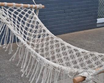 Vintage Macrame  cream  hammock heavy duty hippy