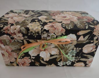 Flower decoupage wooden treasure chest box, for jewellery, keepsakes, and treasured items.