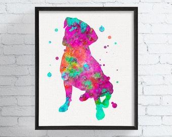 Boxer Print, Boxer Art, Watercolor Boxer, Boxer Illustration, Framed Art, Dog Painting, Dog Art Print, Boxer Poster, Dog Decor, Boxer Decor