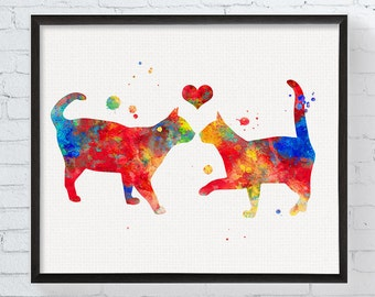 Cat in Love Print, Cat Couple, Watercolor Cat Painting, Wedding Gift, Anniversary Gift, Engagement Gift, Love Gift for Couple, Cat Wall Art