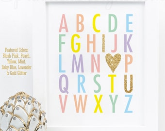 Nursery Alphabet Printable Sign, ABC I Love You Gold Glitter Heart, Rainbow Unicorn Baby Girl Nursery Wall Art, Baby Shower Birthday Decor