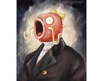 Magikarp Portrait Print - Pokemon Fan Art - Video Game Art - Scary Dark Fish Monster Nintendo Cocktail Art Gift for Gamer Katie Clark Art