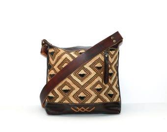 Ethnic Leather Shoulder Bag - Brown Leather Shoulder Bag - Tribal Leather Shoulder Bag - Boho Day Bag