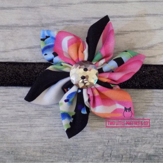Floral stripes Fabric Flower Headband | Baby Girl | Hand sewn