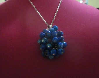 Blue & Black Marble Bunch Necklace