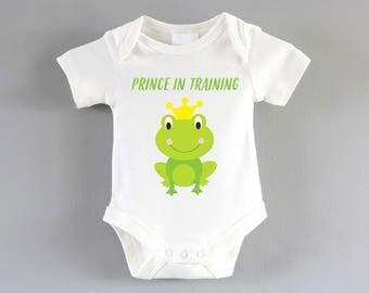 Prince Frog Onesie ~ Frog baby ~ Organic cotton ~ Prince baby clothing ~ baby shower ~ cute baby clothes ~ babygrow ~ bodysuit - T-shirt