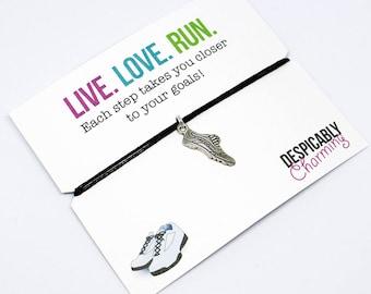 Fitness jewelry, Running jewelry, Runner gifts, Fitness Gift, Marathon Gift, Running Motivation, 10k, 5k, fitspiration, Cord Bracelet