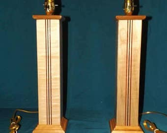 Curly Maple Table Lamps with Wenge and Purpleheart inlays