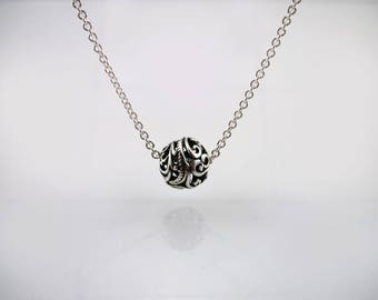 Sterling Silver Discreet Day Collar / Slave Necklace - Permanent Locking Chain w/ Filigree Ball Pendant - Sized to Order