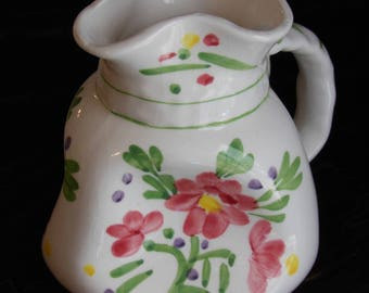 Crumpled Hand Painted Pitcher or Pitcher Vase