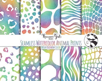 Seamless Watercolor Animal Prints in Bright Rainbow Colors Digital Paper Set - Personal & Commercial Use