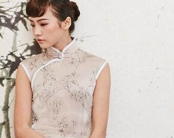 Elegant Champagne Colored Silk Cheongsam W Ink Plum Blossom Print