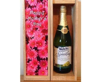 Mother's Day Wine Box, Personalized Wine Box, MOTHER'S DAY, Custom Wine Box,* Add a Name*, Photo Wine Box, Liquor Box, Anniversary, Birthday