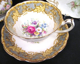 Paragon tea cup and saucer floral rose pattern teacup leaf bands gray accents