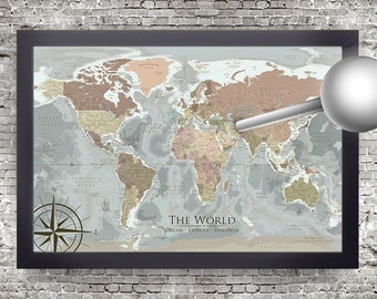 Push Pin World Map, Old World style with modern geography, Designed by a Professional Geographer/Cartographer