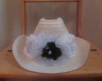 Straw Cowgirl Hat, floral straw hat, dress hat, ladies straw hat, dress hat, fancy hat, white silver black, easter hat, church hat, lady hat