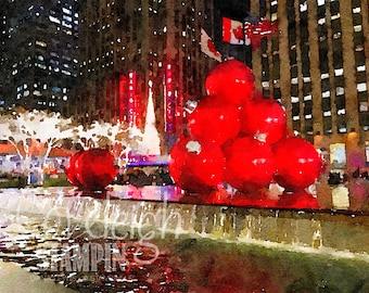 Watercolor NYC Christmas Digital Photo