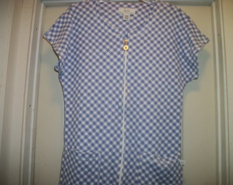 Darling Retro 80s 90s Karen Nuberger CRISS CROSS Checks Zip Up COVERUP Lounger in Blue & WhiteTexture, M