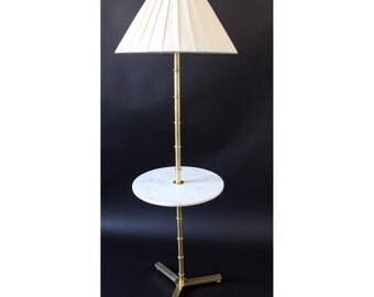 Mid Century Modern Robsjohn Gibbings Brass and Marble Floor Lamp with Table