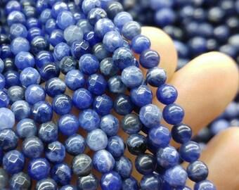 Faceted sodalite beads, 4 mm sodalite beads, gemstone beads, semiprecious stones, jewelry design, wholesale beads B40